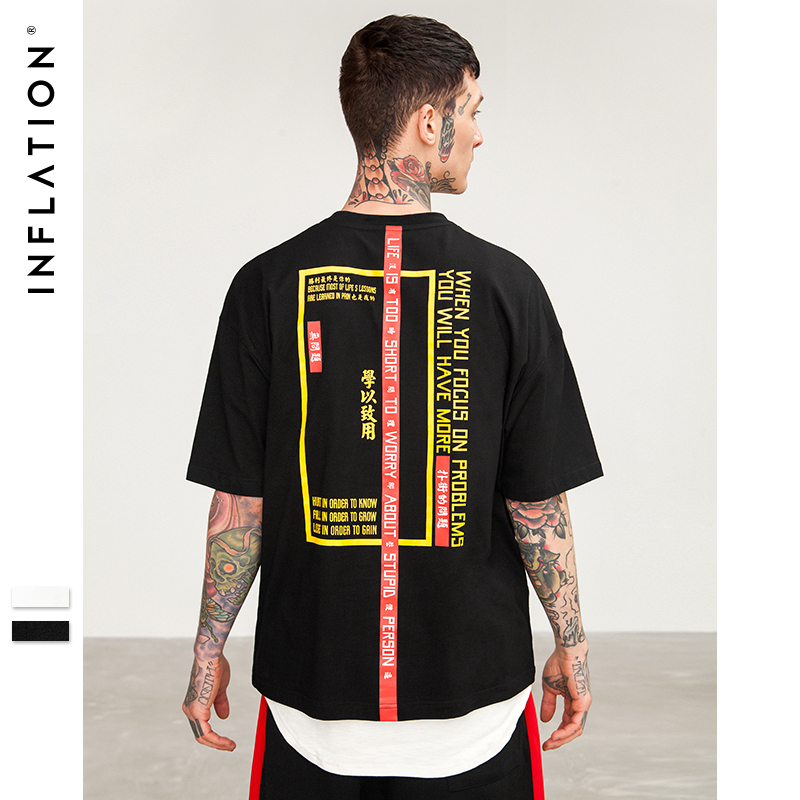 INFLATION 2018 New   T  -  shirt   Men Brand Clothing Print   T     shirt   Male Top Quality 100% Cotton Streetwear Men Oversized Tees 8263S