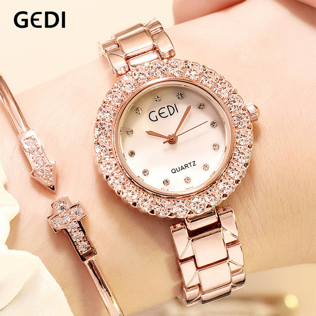 GEDI Luxury Quartz Rhinestone Round Dial Ladies Wrist Watches 2019 New Women's Watch Rosegold Women Clock Top Brand reloj mujer | Fotoflaco.net