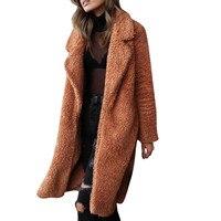 2018 Women Faux Fur Teddy Coat Winter Thick Warm Fluffy Long Fur Coats Fashion Lapel Shaggy Jackets Overcoat Plus Size Outwear