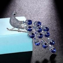 Zlxgirl high quality Rhinestone peacock anima brooch jewelry fashion Women's  Enamel Scarf Suit Sweater Pin hijab accessory цена 2017