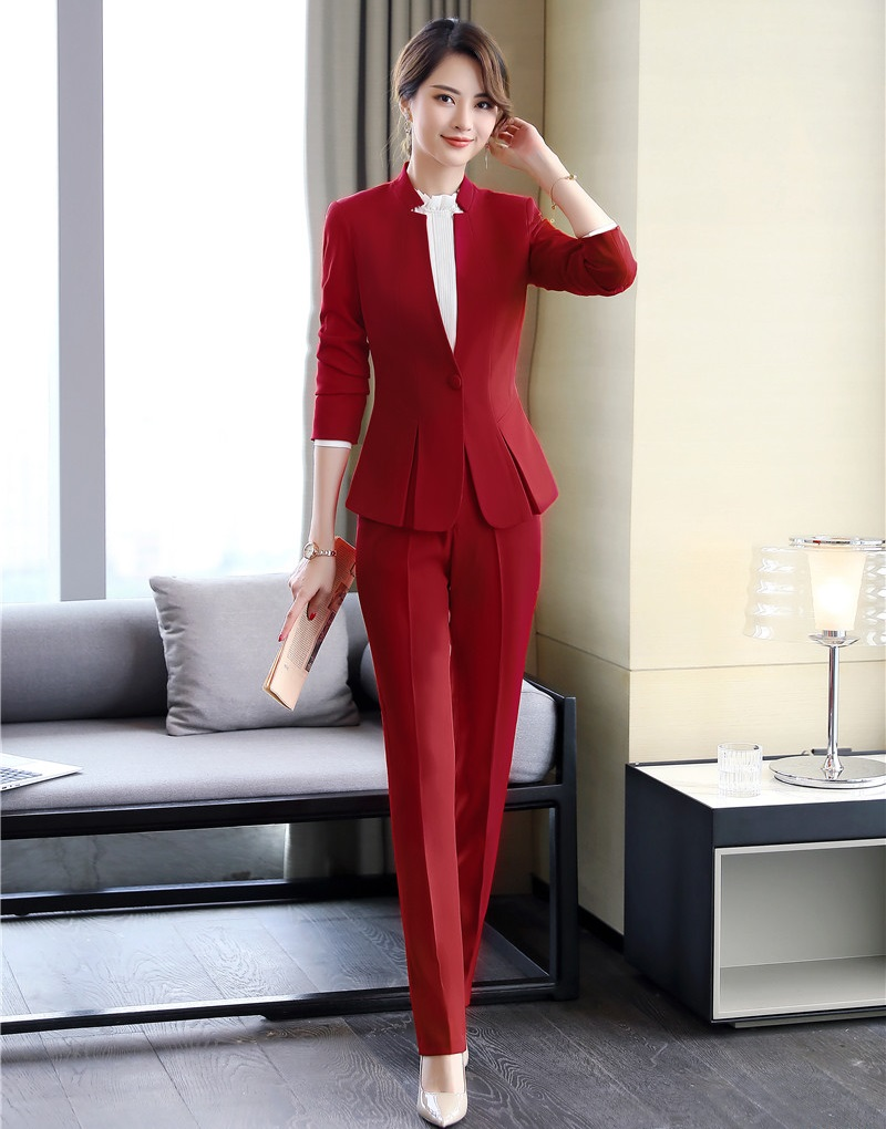 2019 Formal Elegant Women's Blazers Trouser Suits Ladies Red Blazer Women Business Suits With Pant And Jackets Sets Work Wear YY