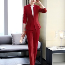 2020 Formal Elegant Women's Blazers Trouser Suits Ladies Red