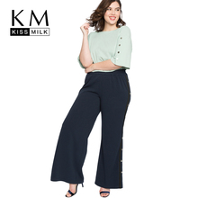 Kissmilk Plus Size 2018 fashion Large Button kick pleat broad leg pants Split Hollow Loose Casual Solid Full Length