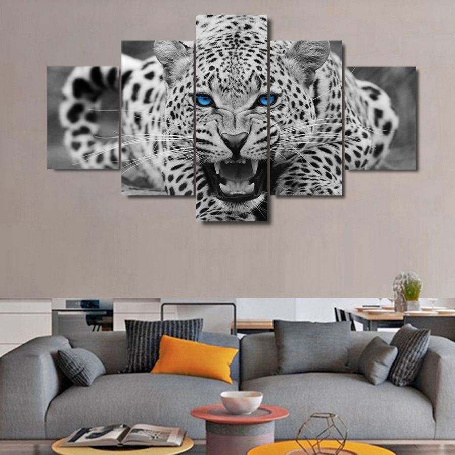 5 pieces hd canvas prints black and white jaguar painting wall art panels poster pictures for