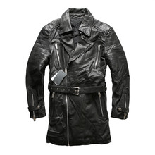 MAXMACCONE 2019 Black Men Long Genuine Casual Leather Jacket Sheepskin Slim Fit