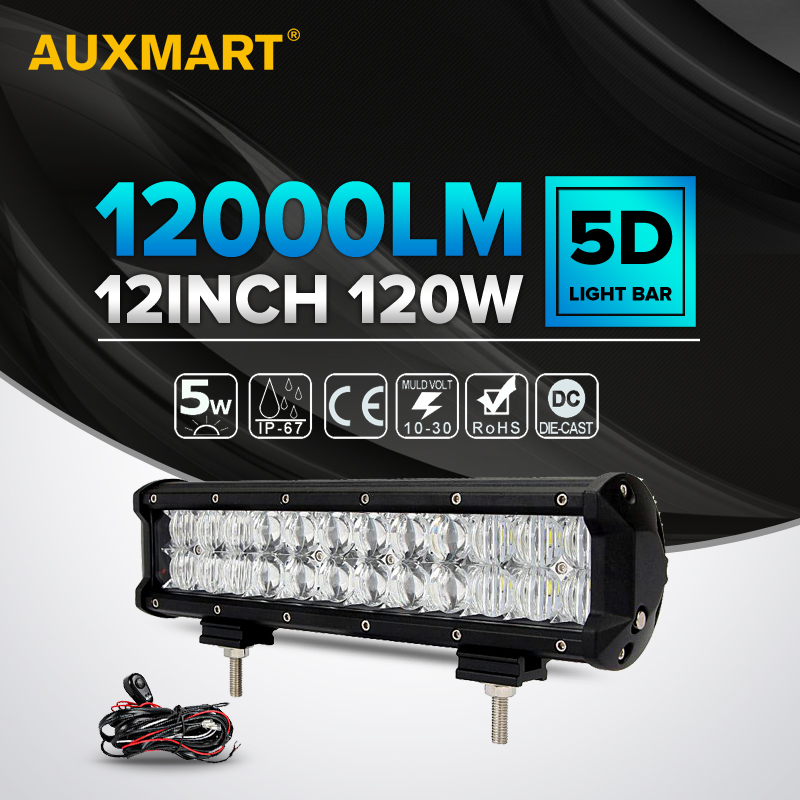 Auxmart 5D CREE Chips LED Light Bar spot flood 12