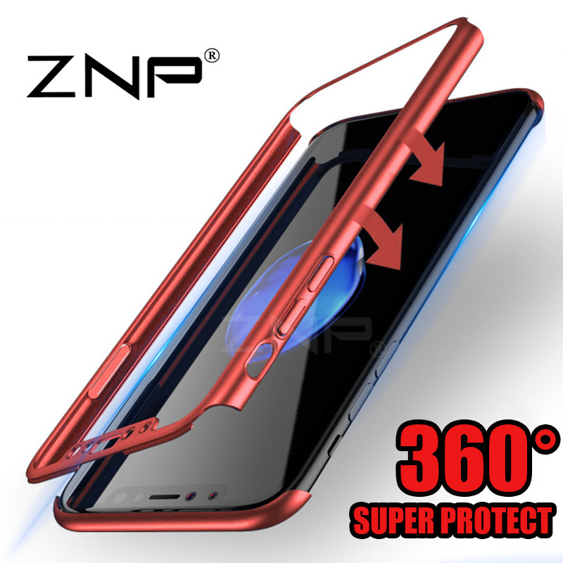 ZNP 360 Degree Full Cover Red Cases For iPhone X 10 Case Luxury Back Plastic PC Cover For iphone 10...  iphone x cases 360 protection ZNP font b 360 b font Degree Full Cover Red font b Cases b font For