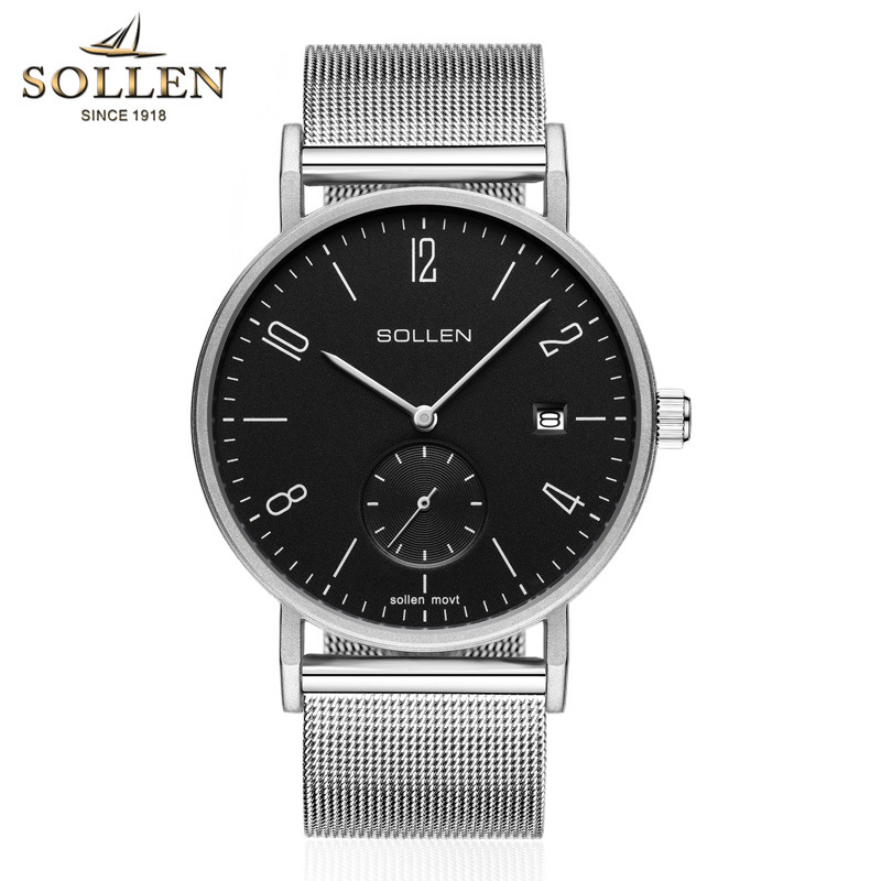 SOLLEN Top Brand Luxury Quartz watch Casual men Black Japan quartz-watch stainless steel Mesh strap ultra thin clock male 2017