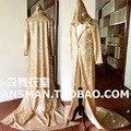 Moda Original diseñado Novedad Largo de Oro Brillante Capa chaqueta trajes Discoteca cantante Masculino DJ Parte etapa desgaste