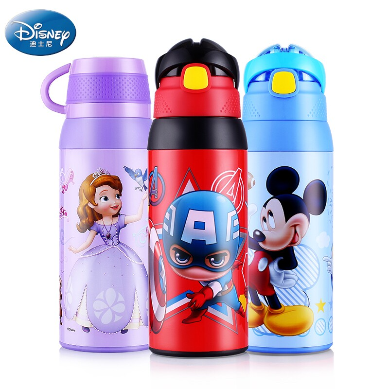 Disney 550ML Baby Hot Water Feeding Cup with Straw Double Lid Durable Kids Kettle Stainless Steel Thermal Cup Insulated Bottle 240ml baby drinking water bottle cups with straw portable feeding bottle cartoon water feeding cup with the handle for baby hot
