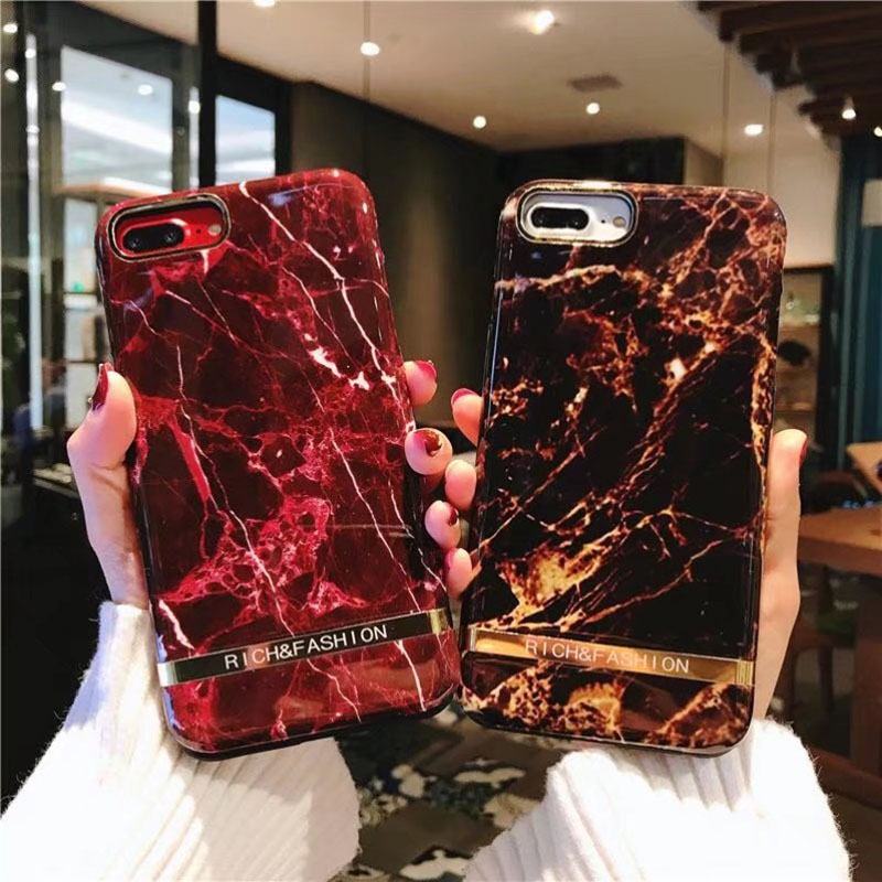 Glossy Color Marble Pattern Phone Case For iphone 6 6s 7 8 Plus X Cover High Quality Fashion Simple Hard PC Cases Coque 7Plus