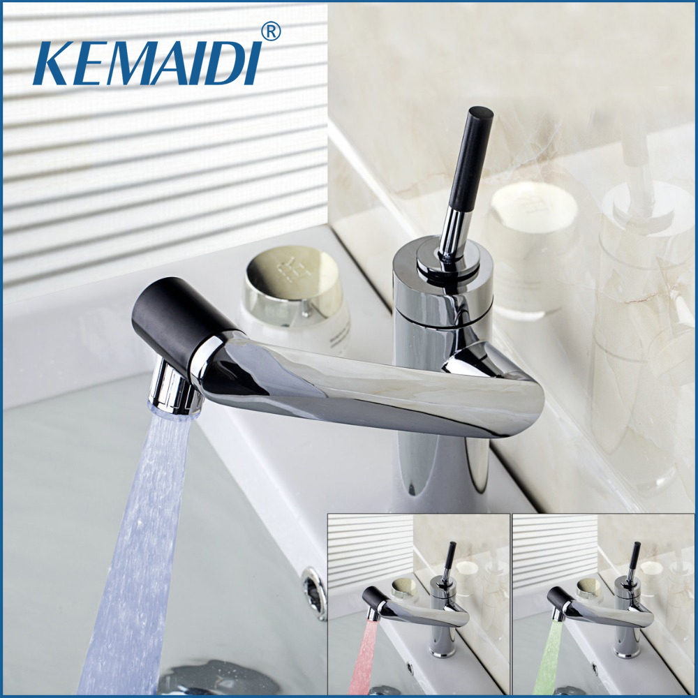 New For Kitchen Bathroom Sink Faucet LED Light Swivel Chrome 1 Handle Basin Deck Mount Brass
