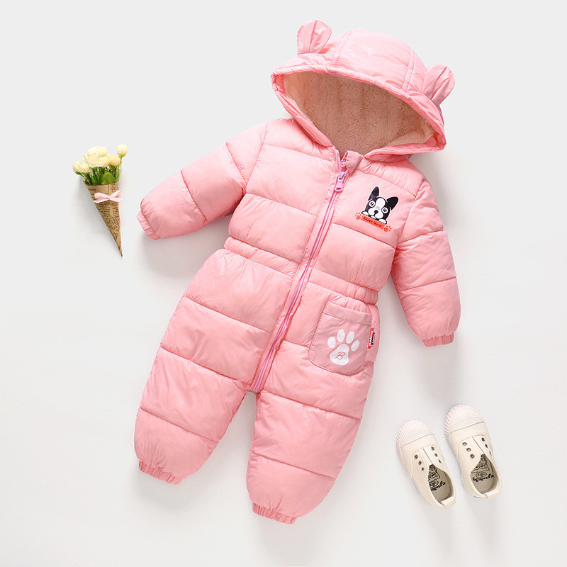 2019 Winter Infant Rompers Baby Girls Boys Rompers Hooded Warm Thicken Toddler Children Jumpsuits Outdoor Costume