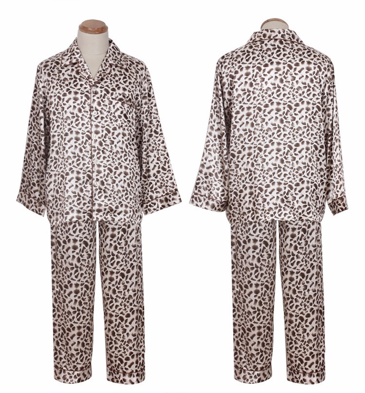 mens leopard satin pajamas