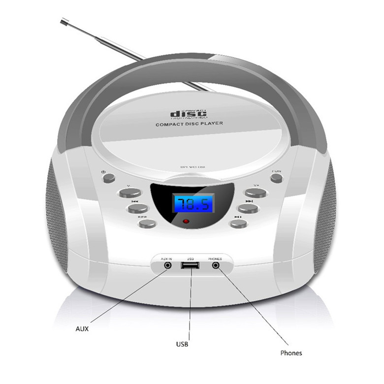 LONPOO Bluetooth CD player Boombox Portable USB Stereo Boombox Subwoofer Speaker With FM Radio AUX Earphone