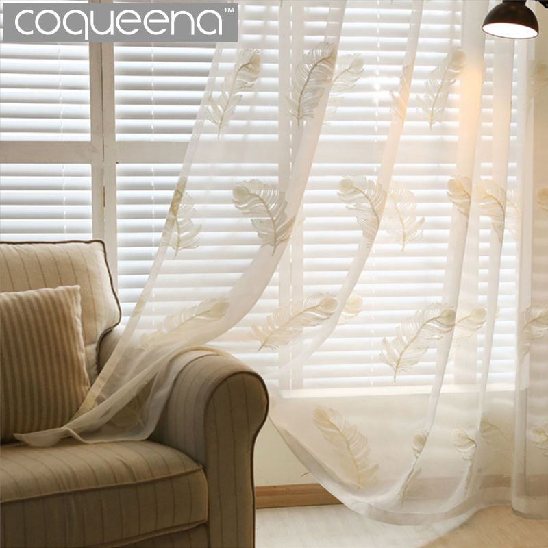 Living Room Curtains Cheap : Finished Feather Embroidered Sheer Curtains White Cheap ...
