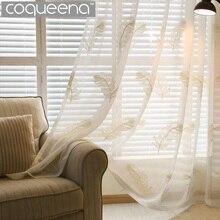 Terminado de Plumas Bordados Cortinas Transparentes Cortinas para la Sala de estar Dormitorio Ventana Cortina de Tul Blanco Barato para Puerta de La Cocina