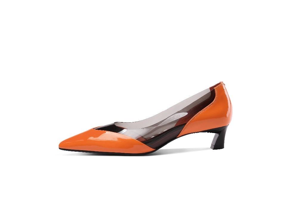 Mujeres Las Los Oficina En Cuero Gelatina Europeo Bajo De Estilo Tacón L14 blanco Krazing Señora Resbalón Modelo Punta Naranja Zapatos Vestido Natural Olla qAUHUf