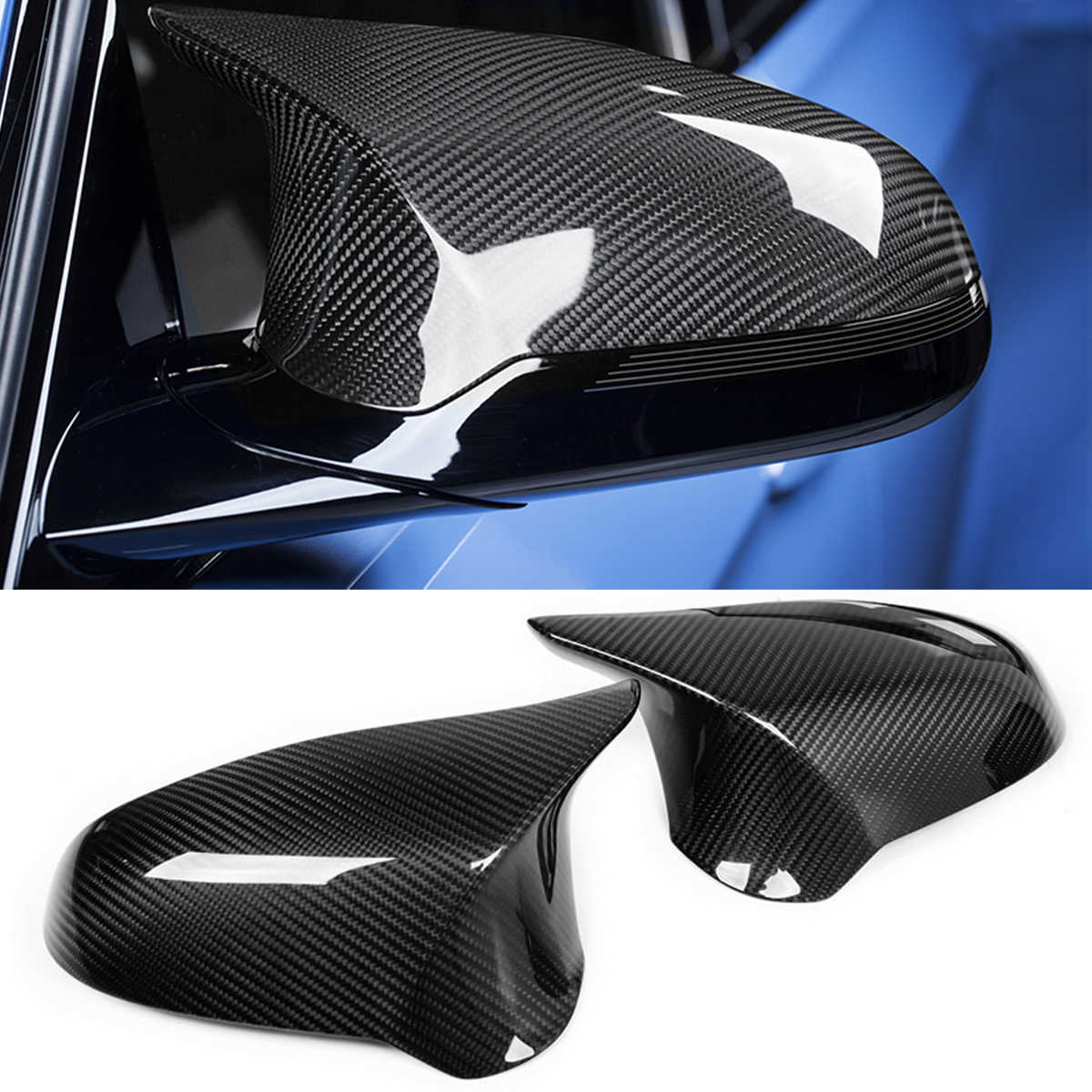 1Pair Add-On Carbon Fiber Car Side Wing Rearview Mirror Cover Caps  Direct Replacement For BMW F80 M3 F82 M4 2015 2016 2017 2018