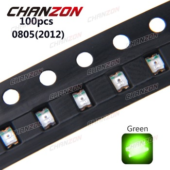 100pcs SMD 0805 (2012) Green SMT LED Chip Beads 20mA 3V 250mcd LED Light Emitting Diode Lamp Super Bright Electronics Components