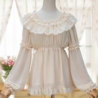 Harajuku Vintage Lolita Lace Chiffon Blouse Women Clothing White Black Layered Ruffles Embroidery Mori Girl Shirt