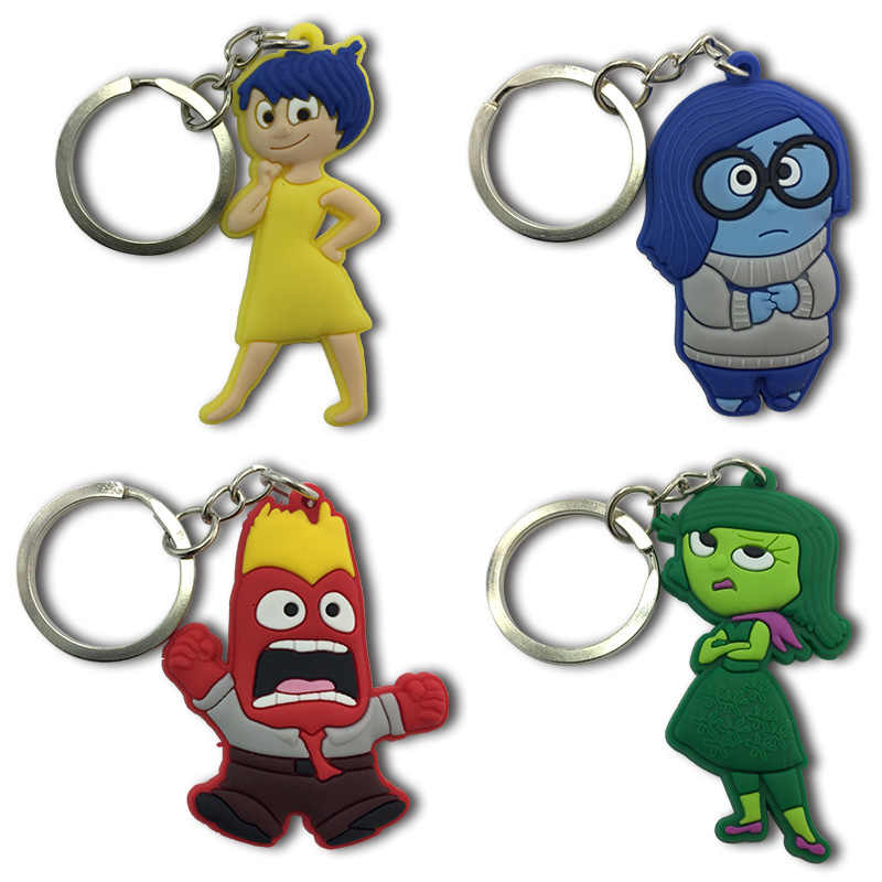 1PCS Inside Out Keychains Cartoon Figure Key Ring Key Holder Children DIY Toy Pendant Xmas  Party Gifts
