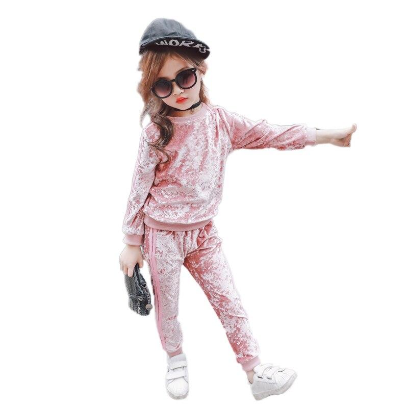 Spring Velvet  Girls Clothes Sets Kids Sport Suit For Girl Long Sleeve Solid Children Clothing Set 3-8T 2015 girls clothing set spring autumn new kids sport suit long sleeve top pants set five pointed star girls clothes 2pcs sets