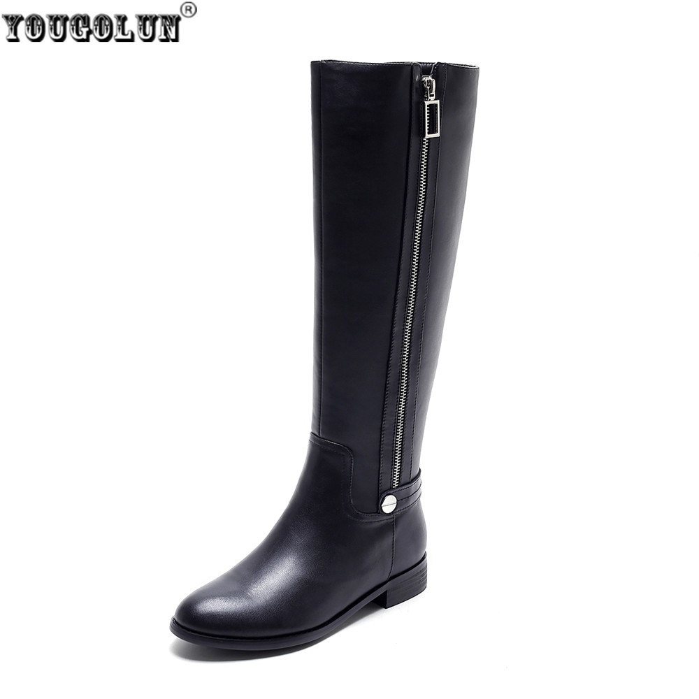 YOUGOLUN women fashion knee high boots 2017 woman autumn winter thigh high boots women's genuine leather PU boots ladies shoes yougolun ladies fashion thigh high over the knee boots woman autumn winter womens female sexy nubuck suede leather women shoes