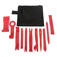 THGS 11 Piece Car Door Plastic Panel Dash Trim Installation Removal Pry Kit Tool Set Red