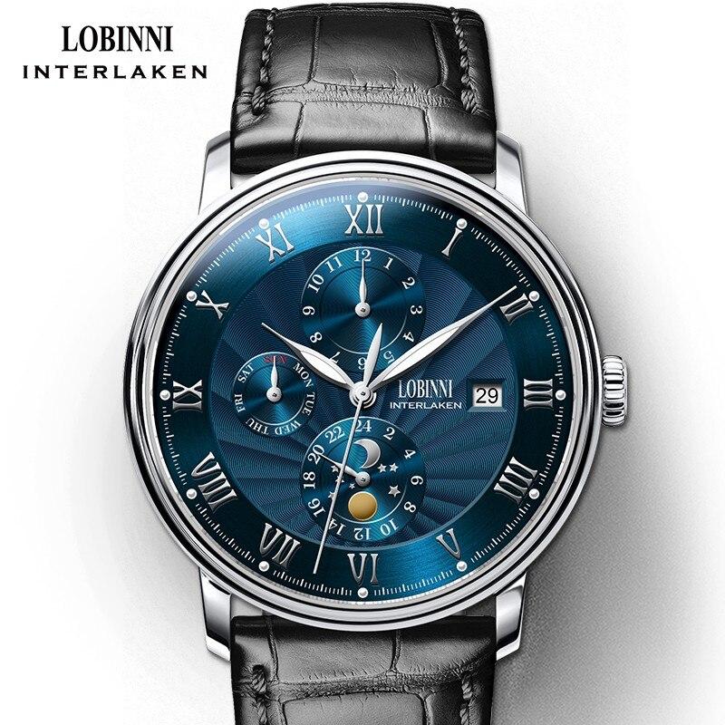 جديد LOBINNI سويسرا الرجال الساعات الفاخرة العلامة التجارية المعصم النورس التلقائي الميكانيكية ساعة الياقوت القمر المرحلة L1023B 1-في الساعات الميكانيكية من ساعات اليد على  مجموعة 1