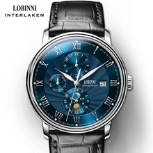 New LOBINNI Switzerland Men Watches Luxury Brand Wristwatches Seagull Automatic Mechanical Clock Sapphire Moon Phase L1023B-1 switzerland lobinni men watches luxury brand moon phase auto mechanical men s clock sapphire leather relogio masculino l16012 1