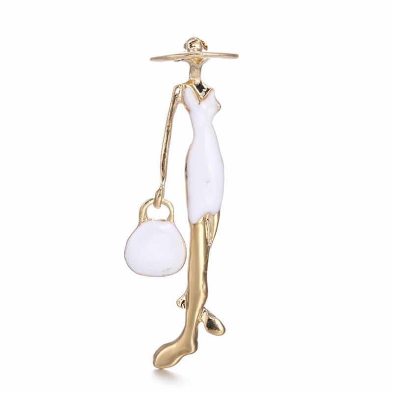 Modo di alta Qualità Rosso Parigi Ragazze Spille Smalto Borsa Delle Signore Spilla Pins Per Cappelli Vestito Sciarpa Accessori Donne Corpetto Bijoux