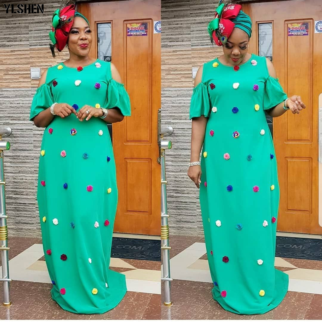New African Dresses For Women Dashiki Floral African Clothes Elegant Fashion Ankara Dresses Clothing Loose Maxi Africa Dress