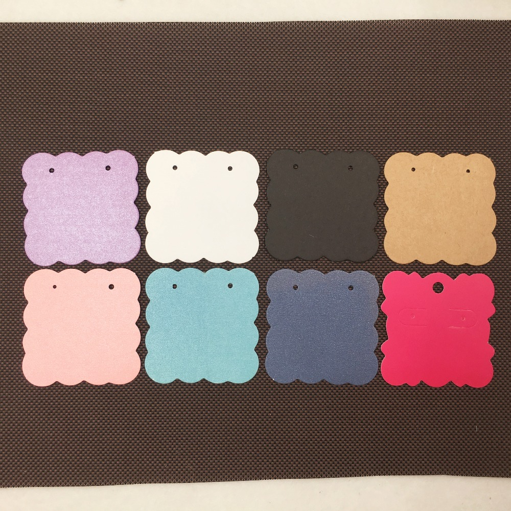 200pcs 5*5cm Colorful Blank Kraft Paper Ear Studs Card Hang Tag Jewelry Display Earring Favor Marking Garment Prices Label Tags