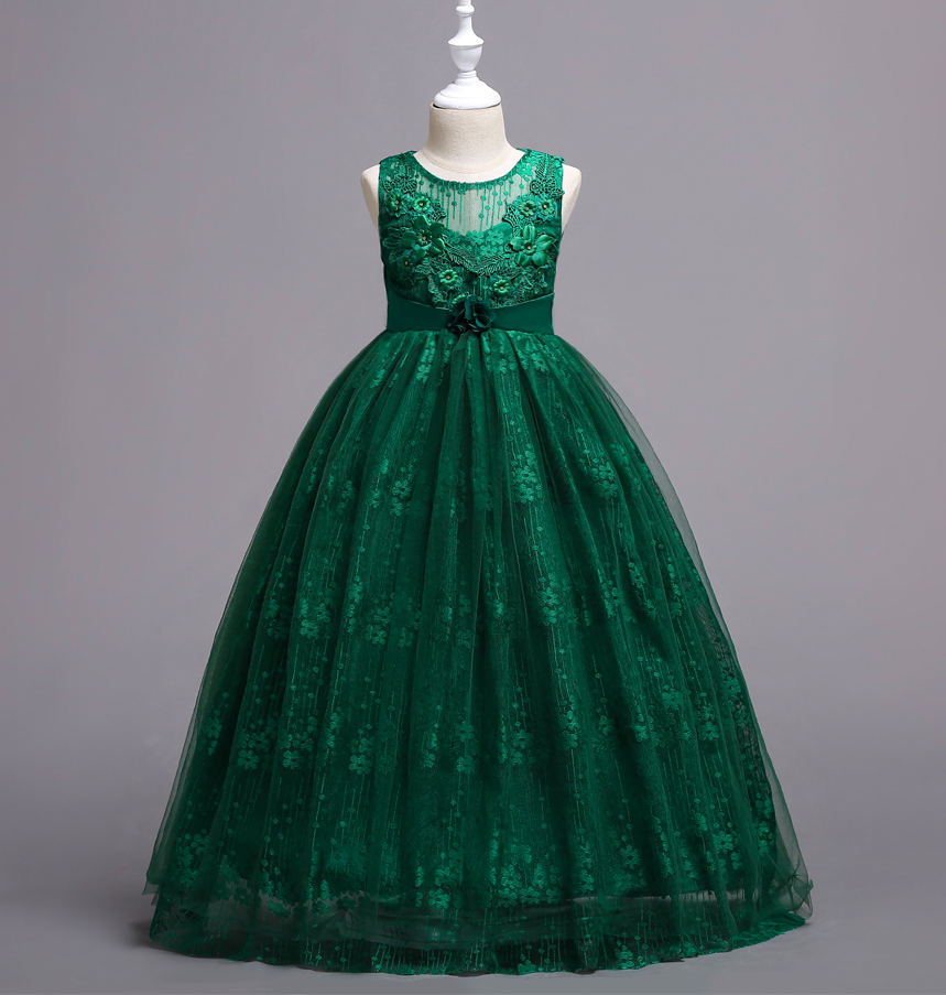 a037614d55 US $9.97 30% OFF|Teenage Girls Formal Clothing 5 To 14 Years Lace Pink Blue  Red White Emerald Green Dress Long Party Ball Gown Kids Elegant-in Dresses  ...
