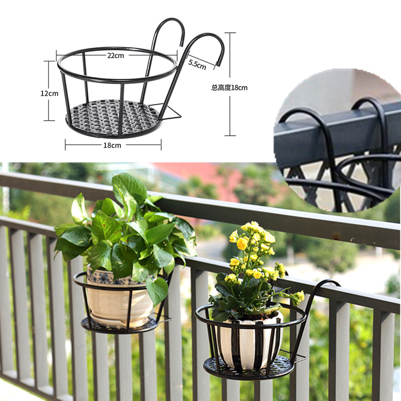 Hanging Flower Stand Pot Hanging Balcony Garden Plant Basket Holder Rack