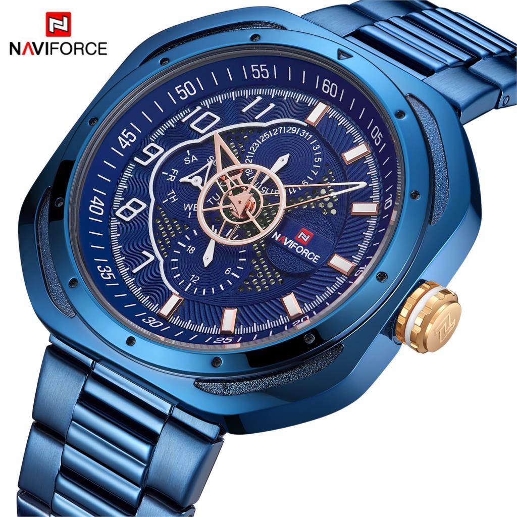 2020 NAVIFORCE Blue Quartz Watch Men Top Luxury Brand Fashion Casual Waterproof Date Week Stainless Steel Clock Male Wristwatch