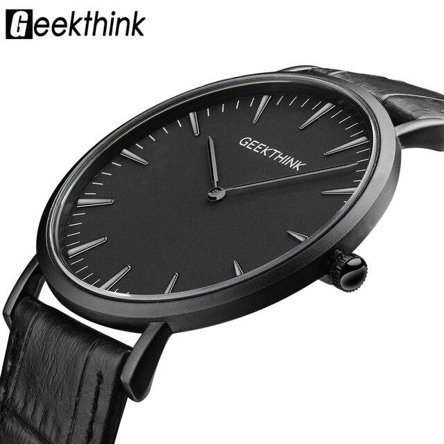 Prix pour GEEKTHINK De Luxe Haut de Quartz de Marque de montre hommes Casual Noir quartz-montre D'affaires en cuir véritable ultra mince horloge mâle 2017 Nouveau