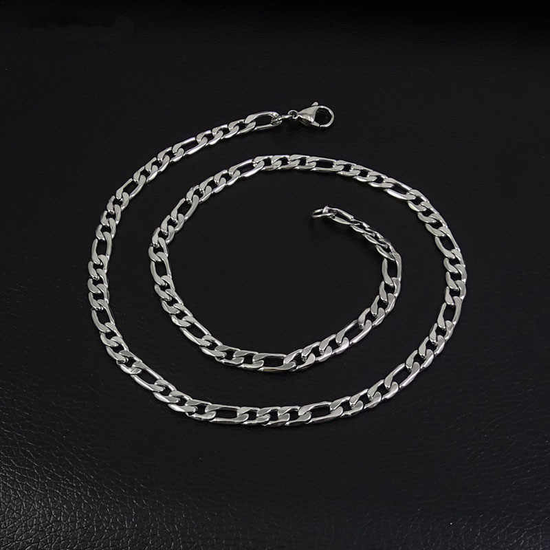 4MM stainless steel 3:1NK Figaro chain necklace size 50/55/60/70CM fashion cool men jewelry wholesale low price drop shipping