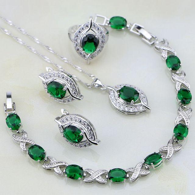 Eye Shaped Green Created Emerald White Crystal 925 Silver Jewelry