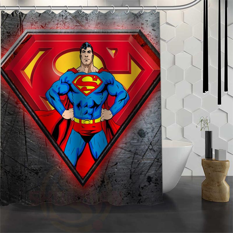 Best Custom Waterproof Bathroom Superman Shower Curtain Polyester Fabric Bathroom Curtain 165X180cm,180X200cm P#