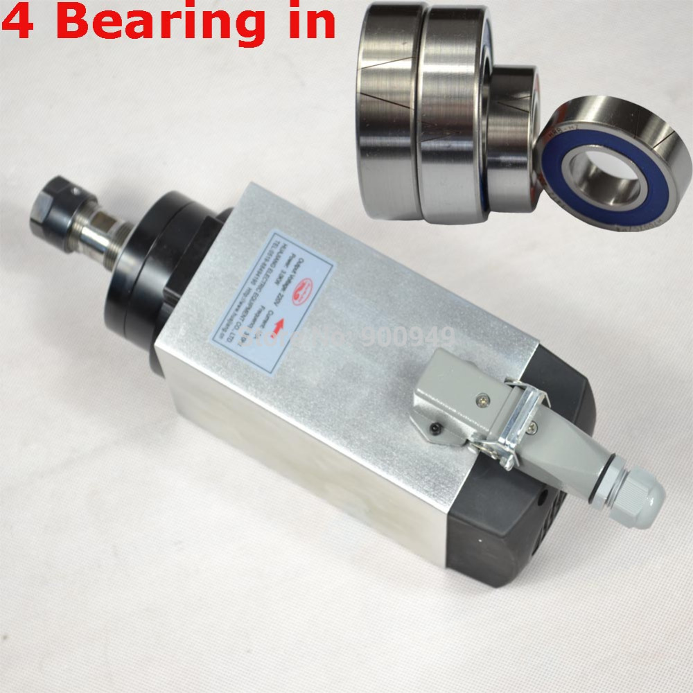 RUSSIAN 4KW AIR COOLED SPINDLE SQUARE TYPE MOTOR WITH ER20 4 BEARINGS CNC ENGRAVING MACHINE 4KW