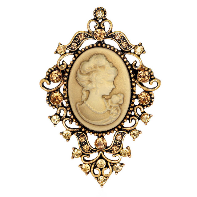 Fashion Vintage Jewelry Cameo Brooch Pin Beauty Queen Crystal Rhinestone  Christmas Antique Gold Silver Brooches For Women 71e3cfb76f69