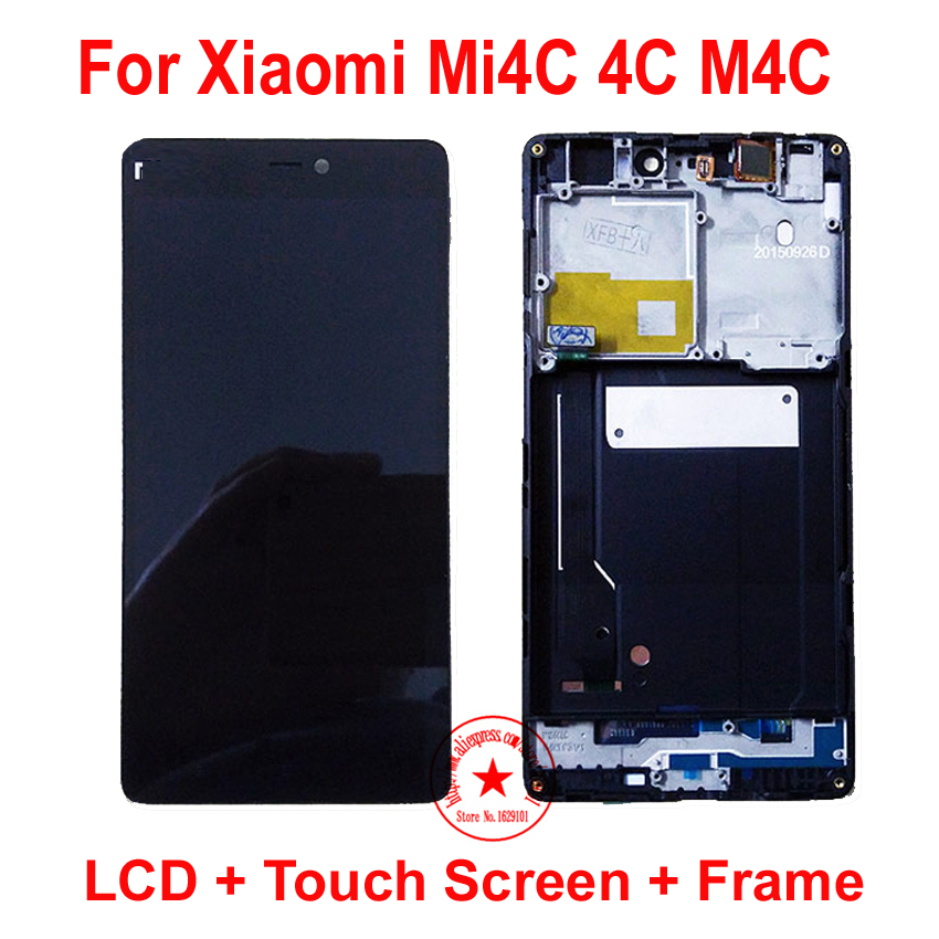 ФОТО 100% Tested Working Frame +LCD Touch Screen Digitizer Assembly For Xiaomi Mi4C 4C M4C Mobile Display Sensor Replacement