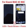 De calidad superior negro completo pantalla lcd de pantalla táctil digitalizador asamblea con marco para xiaomi mi4c 4c m4c reemplazo del teléfono móvil