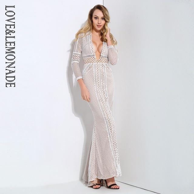 Love&Lemonade  White Deep V-Neck Transparent Lace Back Stitching Party Long Dress LM0931