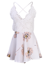 Summer Women Ladies Lace V Neck Sleeveless Bandage Backless Floral Casual A Line Mini Dress New Fashion