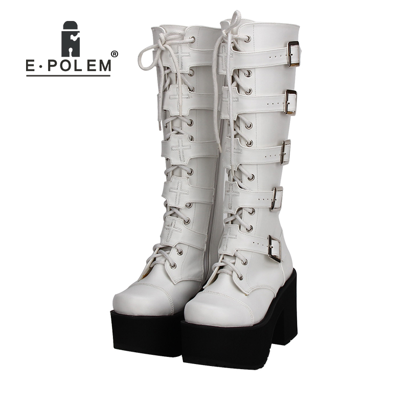 Fashion Plus Size 34-44 Women Punk Style White/Black Cosplay Boots Square Toe Wedges Platform Boots Leather Long BootsFashion Plus Size 34-44 Women Punk Style White/Black Cosplay Boots Square Toe Wedges Platform Boots Leather Long Boots