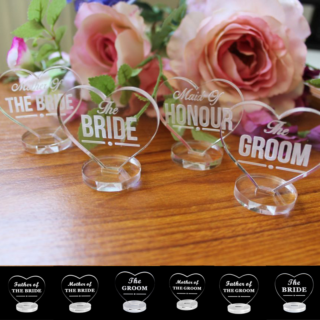 New Clear Acrylic Love Heart Wedding Table Centerpiece  The Bride/Groom  Name Plaque For