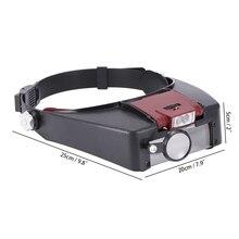 118b9c22f 2 LEVOU Luz Viseira Reparação Precisão Trabalho Djustable Cabeça Headband  Lupa Lâmpada Iluminado Lupa Olho Óculos de Lente Lupa